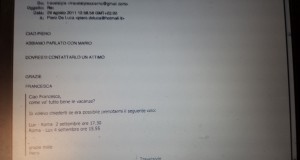 E-mail inviata da Piero De Luca all'agenzia di viaggi
