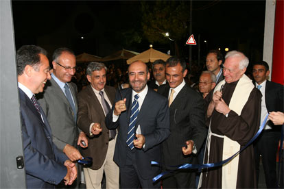 Inaugurazione del Credito Salernitano con Villani, Del Mese, l'ex presidente Vassallo e Picarone